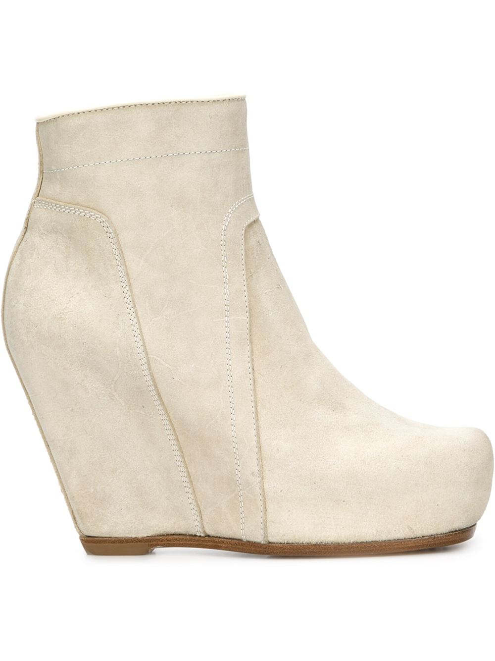 White Wedge Ankle Boots - Boot Hto