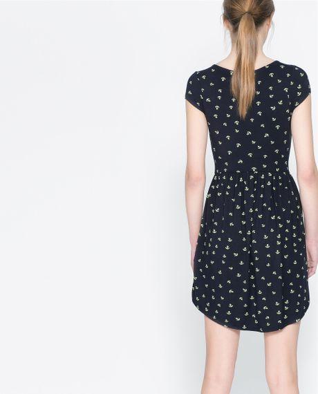 Zara Anchor Print Dress In Blue Navy Blue Lyst