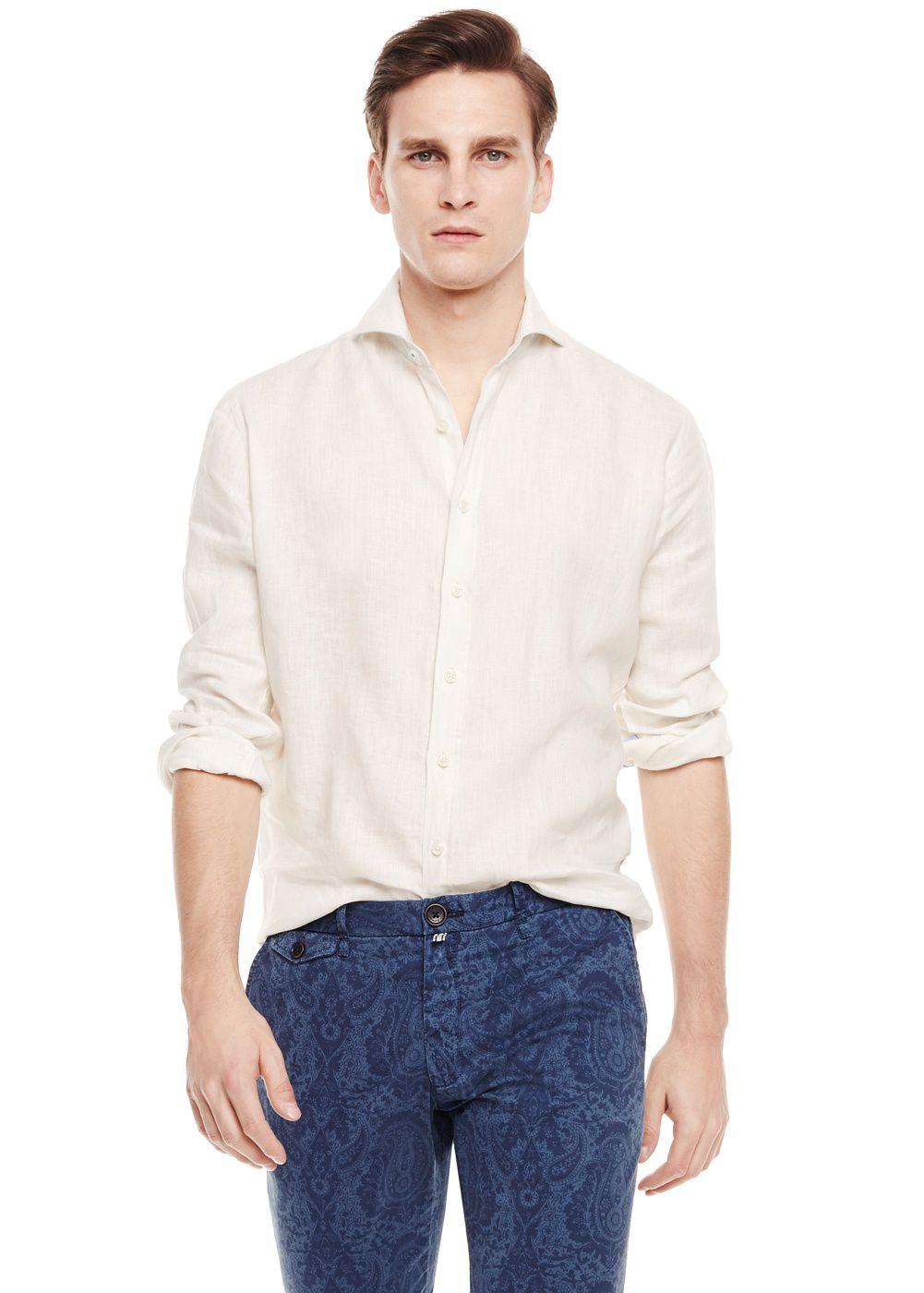 Mango slimfit linen shirt in white for men lyst for Slim fit white linen shirt