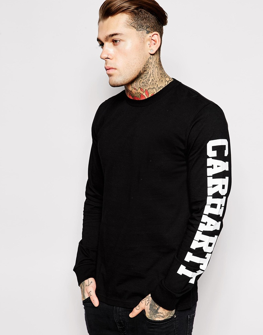 f0d0085a Carhartt Long Sleeve College T-Shirt in Black for Men - Lyst
