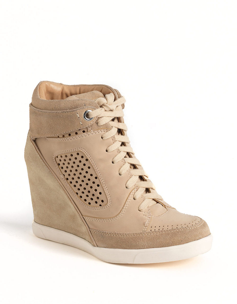 dc459a26e9e Lyst - French Connection Marla Hiddenwedge Hitop Sneakers in Natural