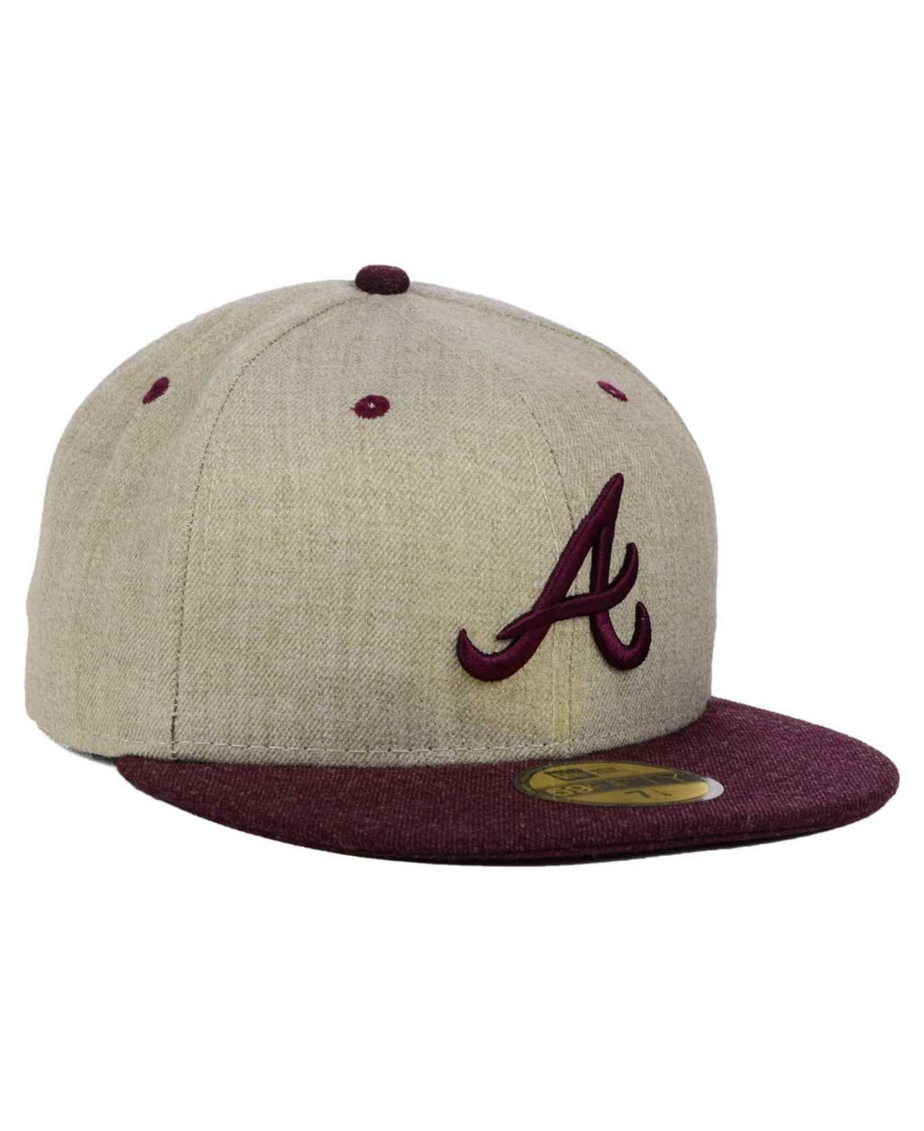 new product fbdd3 d95b5 low cost lyst ktz atlanta braves heather mashup 59fifty cap in natural for  men e6fcc b7e63
