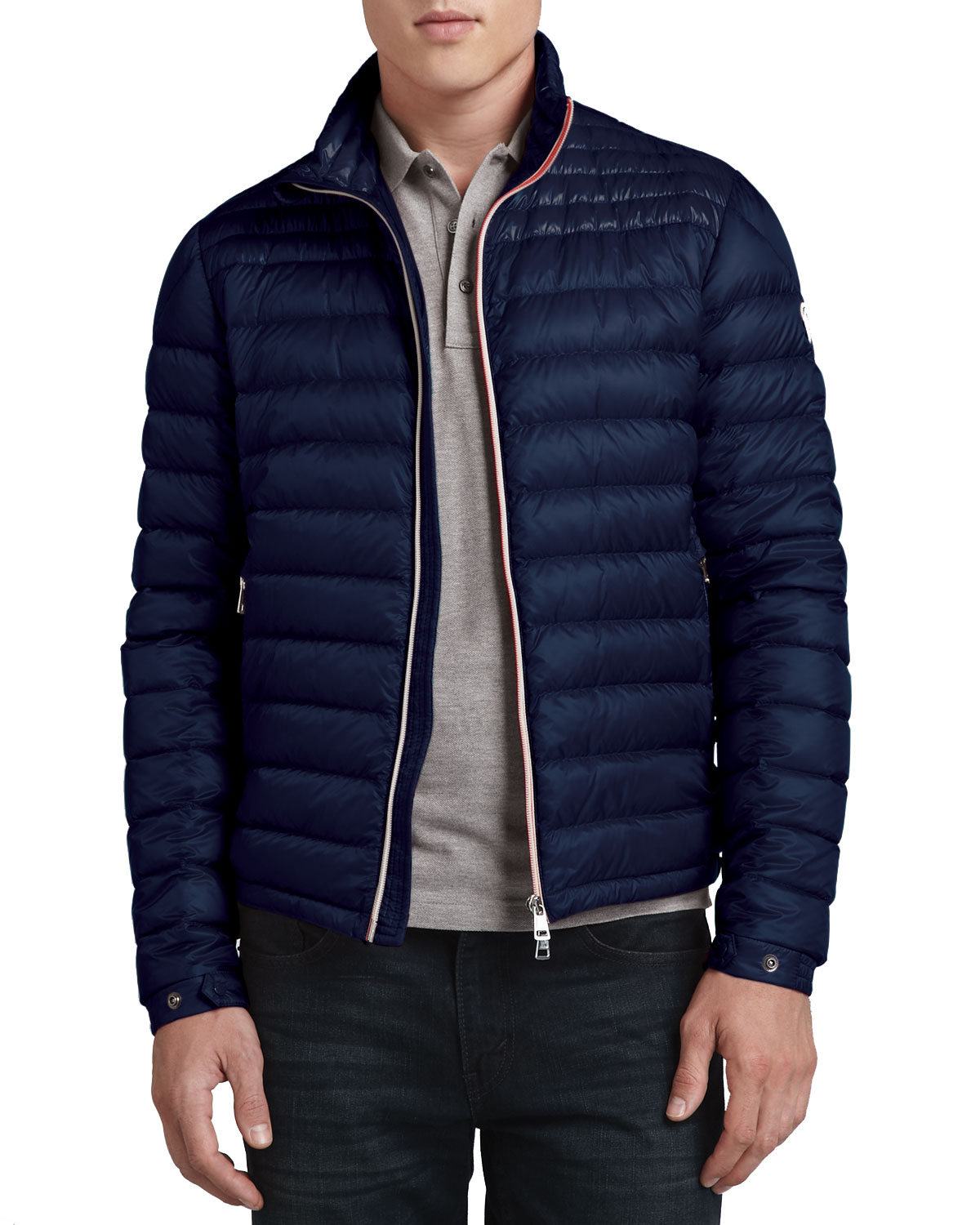 lyst moncler daniel lightweight puffer jacket dark navy in blue for men. Black Bedroom Furniture Sets. Home Design Ideas