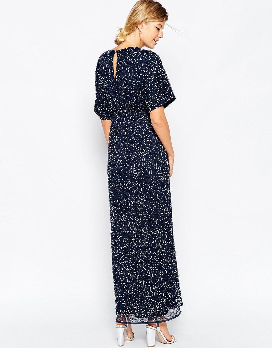 63f34acab9812 ASOS Kimono Maxi Dress In Sequin in Blue - Lyst
