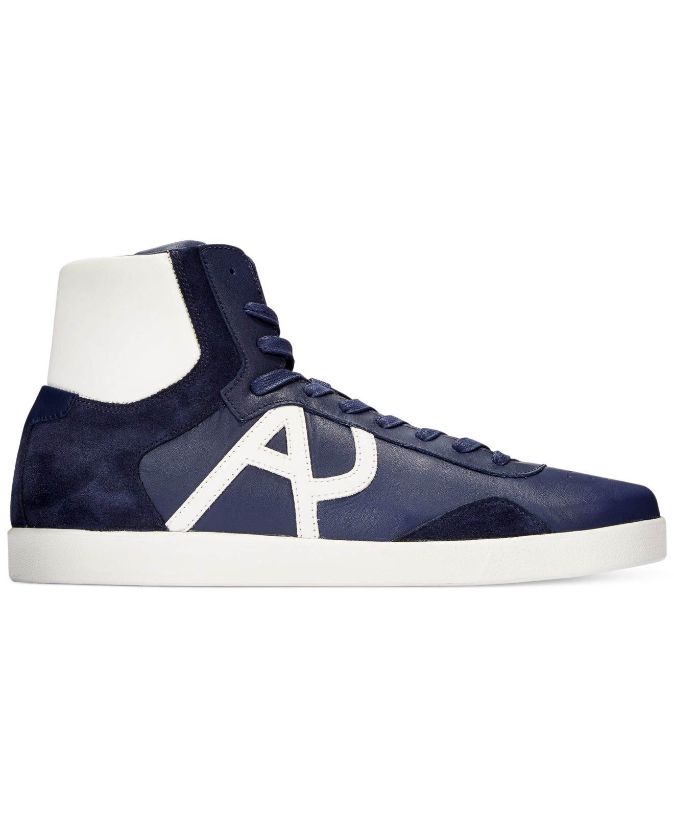 Lyst - Armani Jeans Logo Hi-top Sneakers in Blue for Men