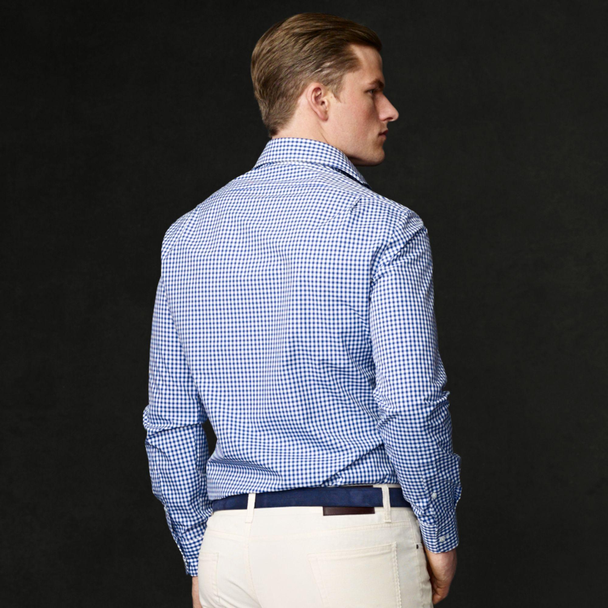 9363c4a24d ... promo code for lyst ralph lauren purple label gingham keaton shirt in  blue for men e3e09