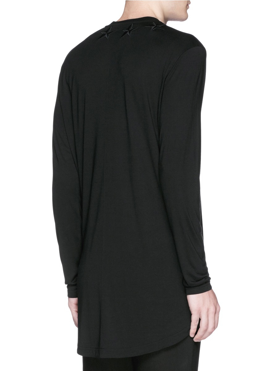 Lyst givenchy star embroidery long sleeve t shirt in for Givenchy 5 star shirt
