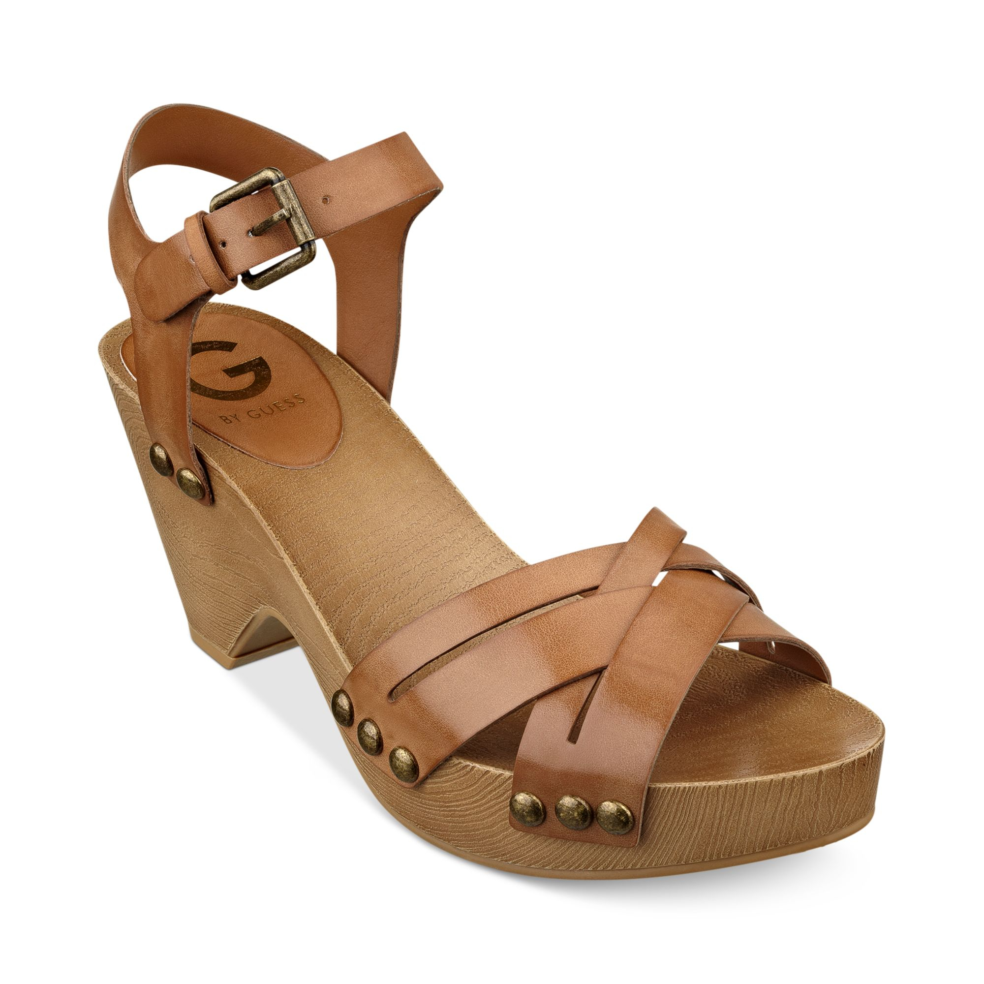 G By Guess Womens Jackal Platform Clog Sandals In Brown