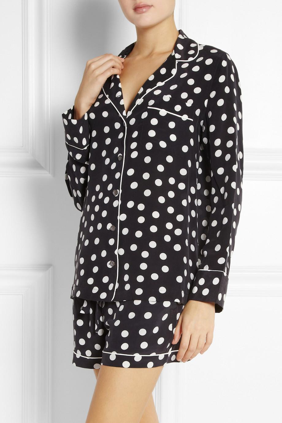 Equipment Lillian Polka-dot Washed-silk Pajama Set in White | Lyst