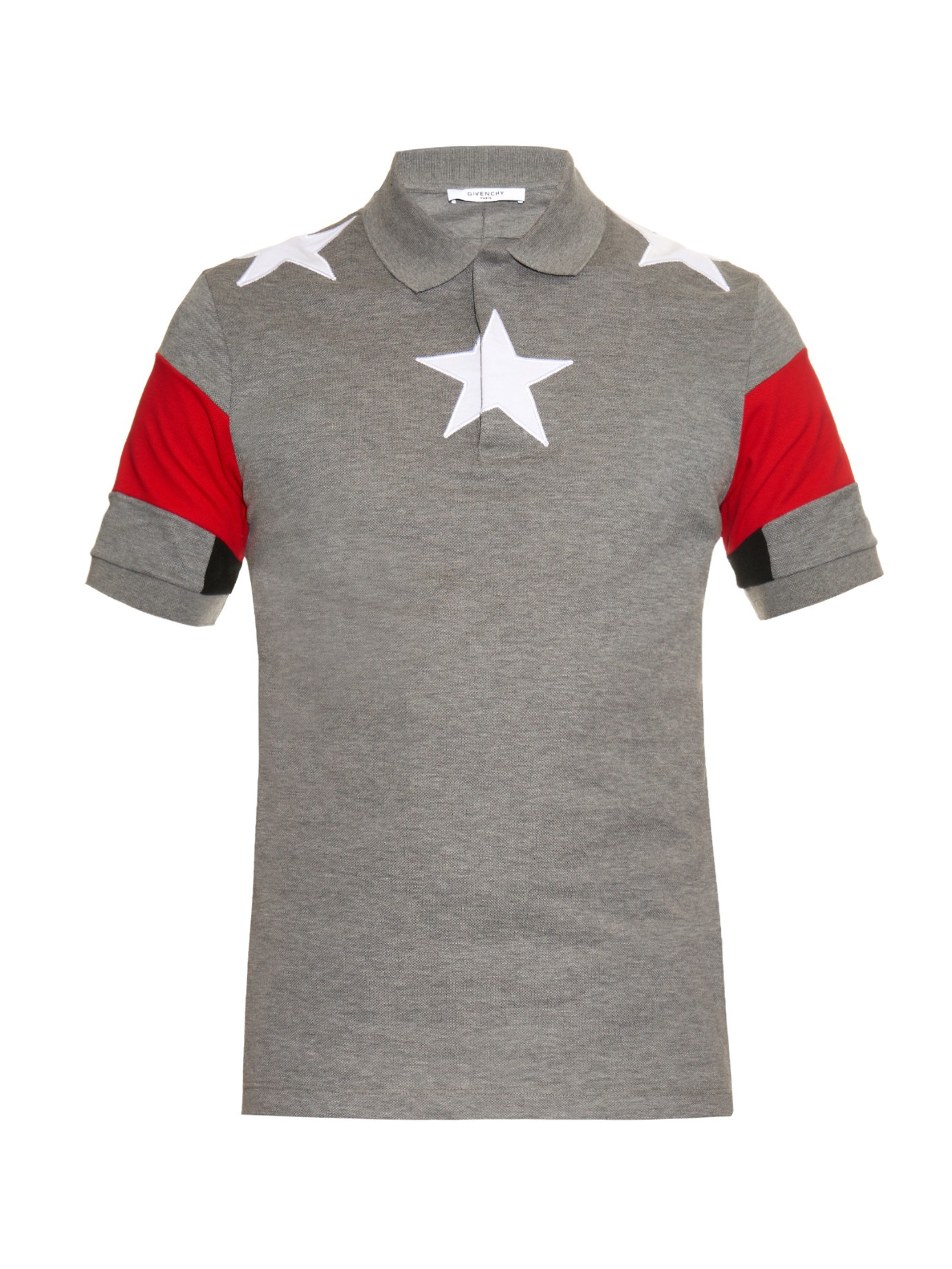 Givenchy Cuban Fit Star Embroidered Polo Shirt In Gray For