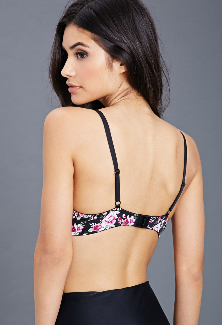 9cc6565b0d497 Lyst - Forever 21 Floral Print Push-Up Bra in Black