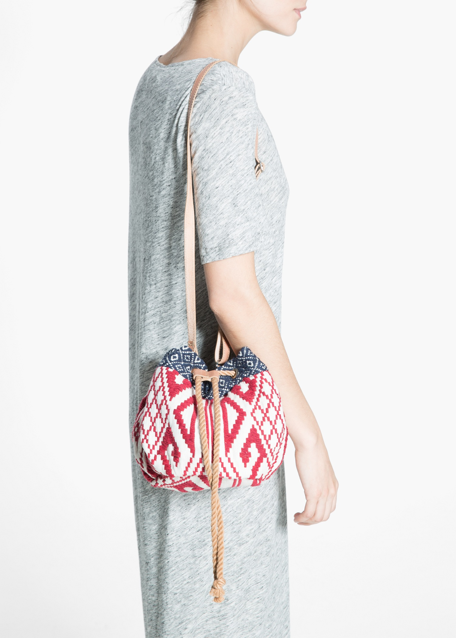 Lyst Mango Embroidered Bucket Bag In Red
