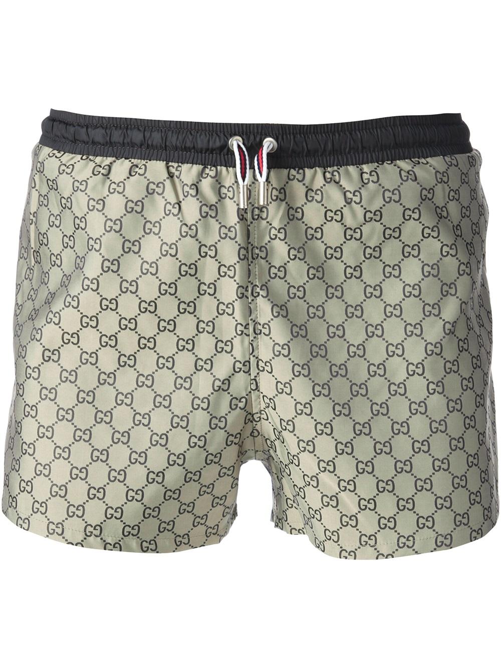 Gucci Geometric Pattern Swim Shorts In Natural For Men Lyst