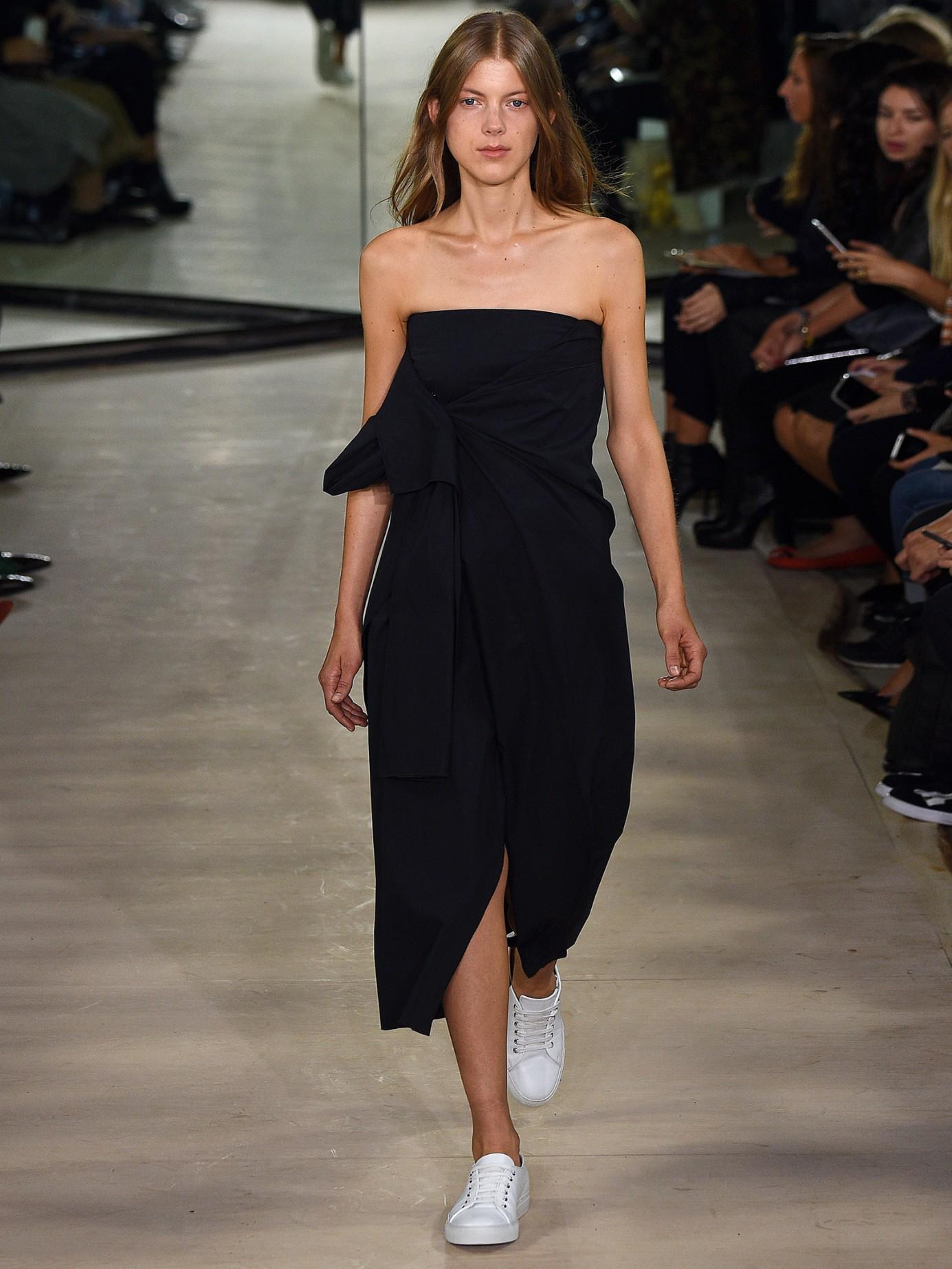 Black Strapless Stretch Cotton Dress