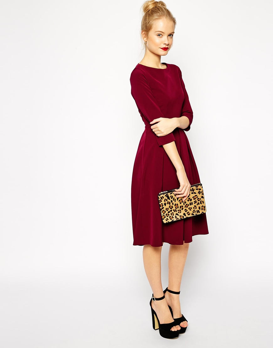 83f5e0c1ee55 ASOS Tailored Midi Dress With Pleats And Full Skirt in Black - Lyst