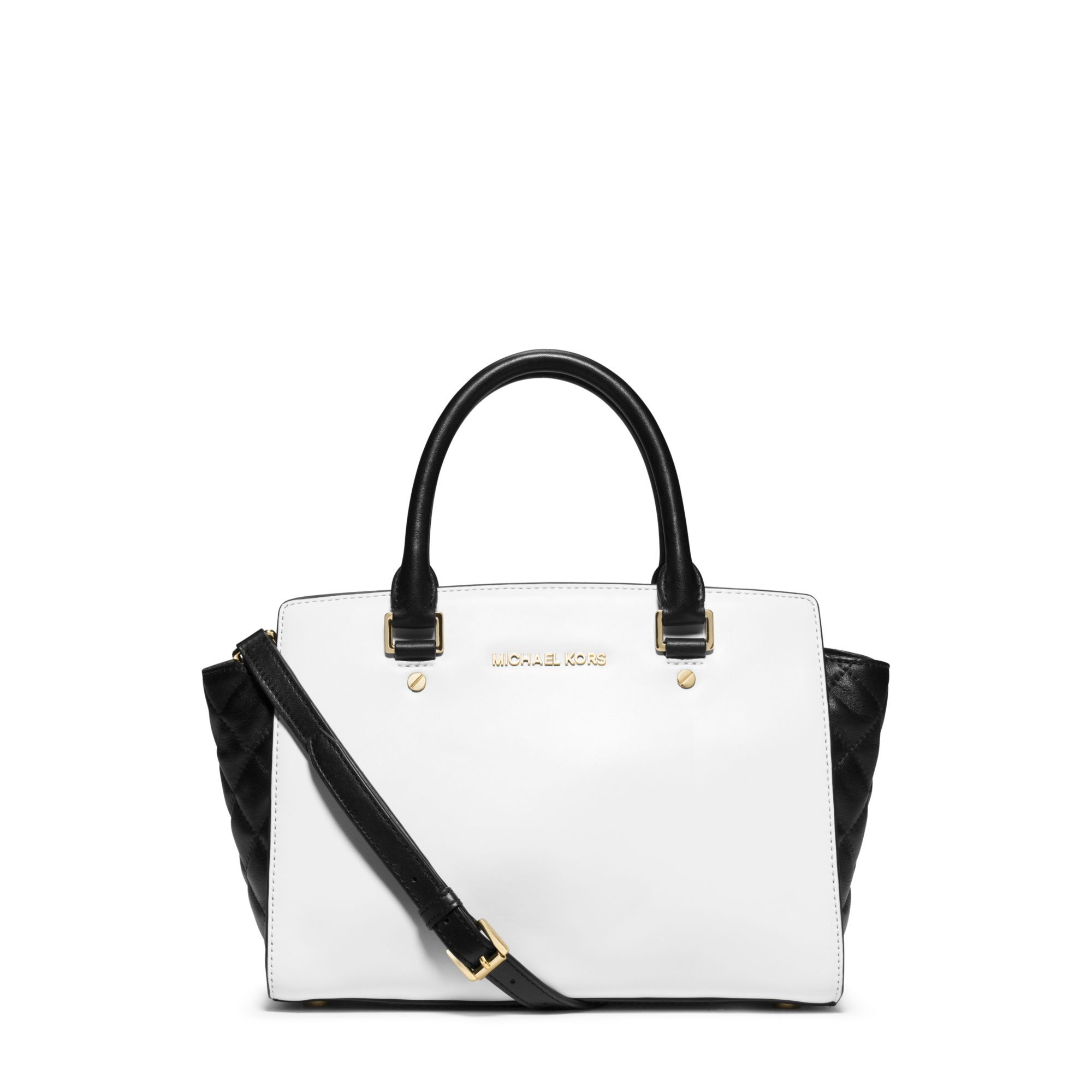 a7a8da9fc0ab0 Lyst - Michael Kors Selma Medium Color-block Leather Satchel in White