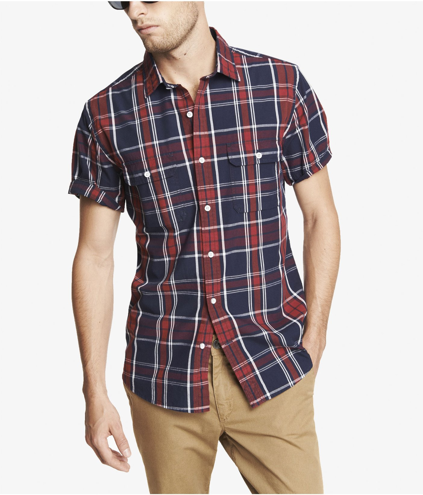 Express fitted short sleeve plaid shirt in multicolor for Short sleeve plaid shirts