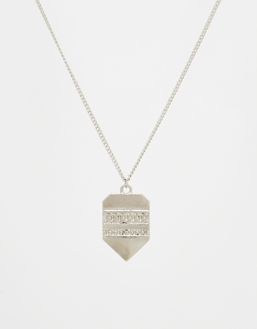 Lyst asos chain with interchangeable pendants in metallic for men gallery aloadofball Images