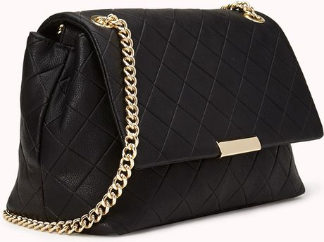 Forever 21 Fancy Quilted Shoulder Bag in Black