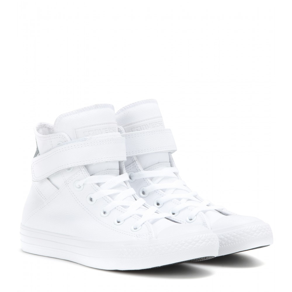 fd2f80315fa9 Lyst - Converse Chuck Taylor All Star Brea Leather High-top Sneakers in  White