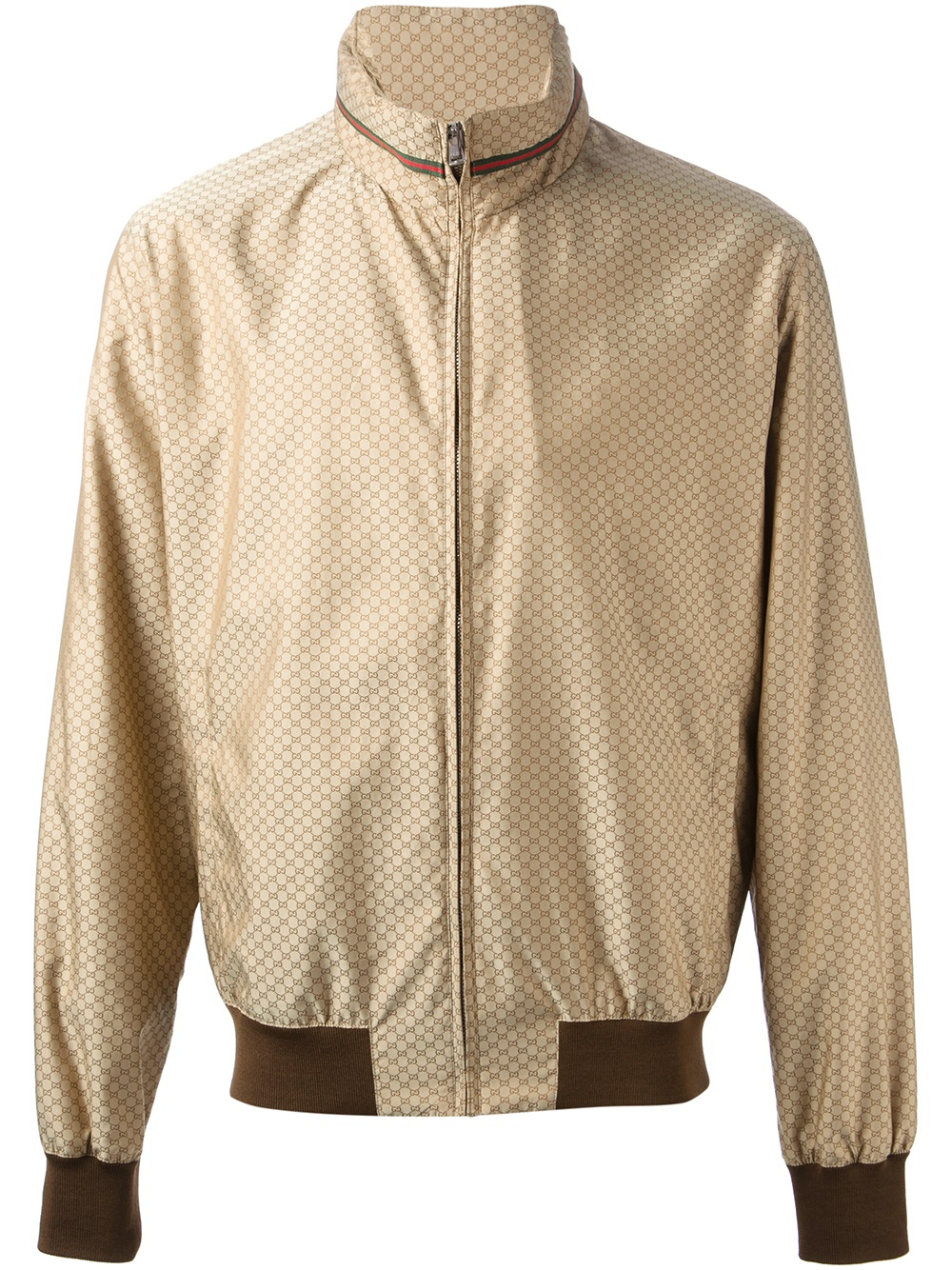 5975704173df Gucci Monogram Bomber Jacket in Brown for Men - Lyst