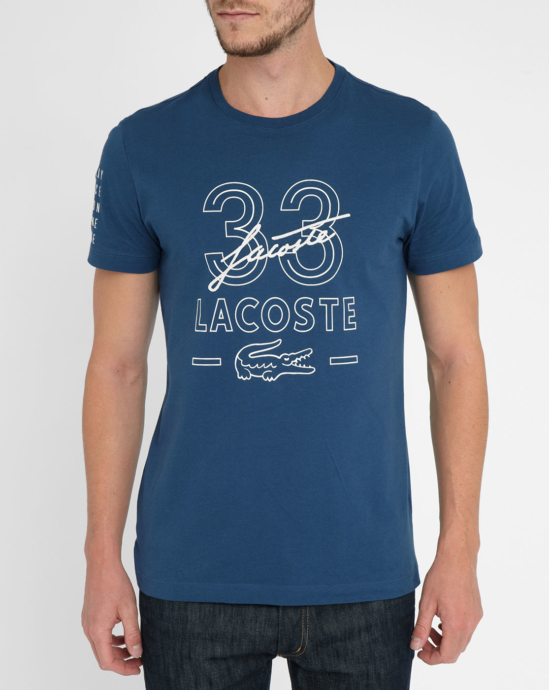 lacoste blue embroidered signature t shirt in blue for men lyst. Black Bedroom Furniture Sets. Home Design Ideas