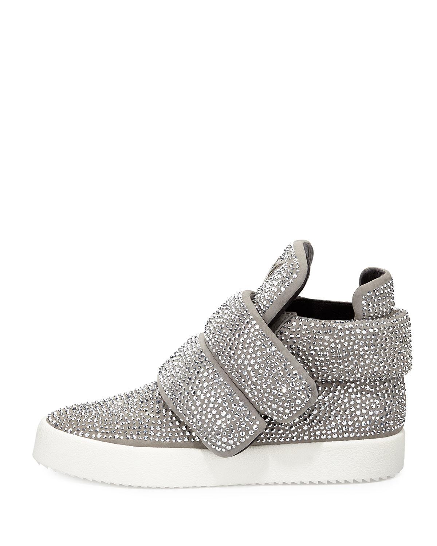 giuseppe zanotti crystal embellished high top sneakers in metallic rh lyst ca