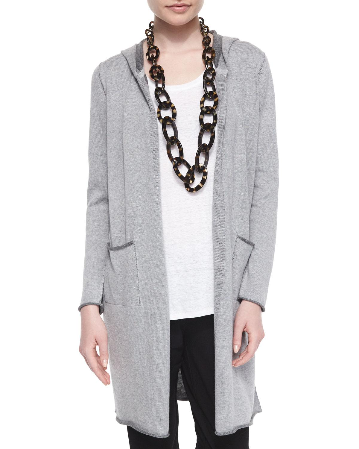 Eileen fisher Hooded Organic Cotton Long Cardigan in Gray | Lyst
