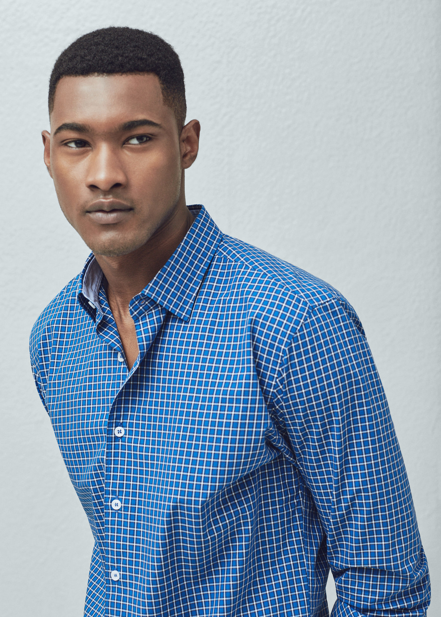 Mango slim fit gingham check shirt in blue for men lyst for Slim fit gingham check shirt