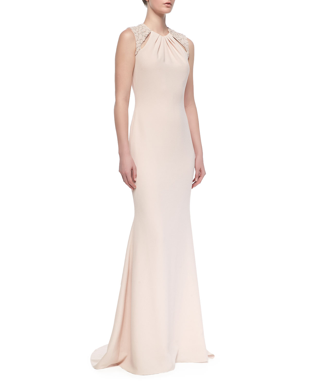 Badgley Mischka Collection Sleeveless Beadedshoulder Gown ...