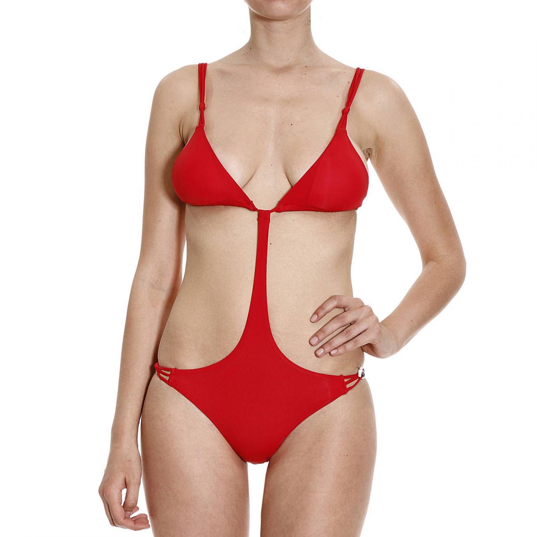 emporio armani costume trikini con ciondoli in red lyst. Black Bedroom Furniture Sets. Home Design Ideas