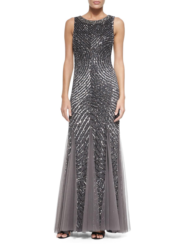 Lyst - Aidan Mattox Sleeveless Beaded Gown W/ Cutout Back in Metallic