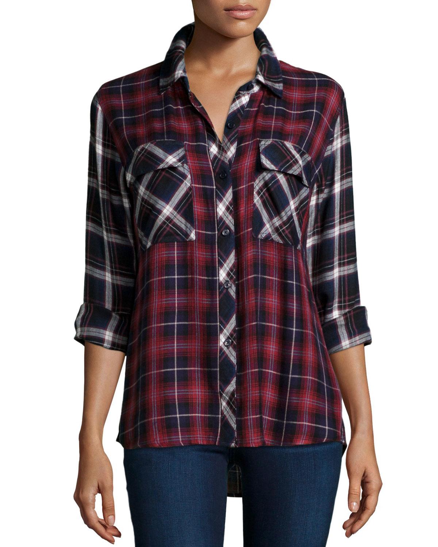 Rails Liza Two Tone Plaid Long Sleeve Shirt In Blue Navy