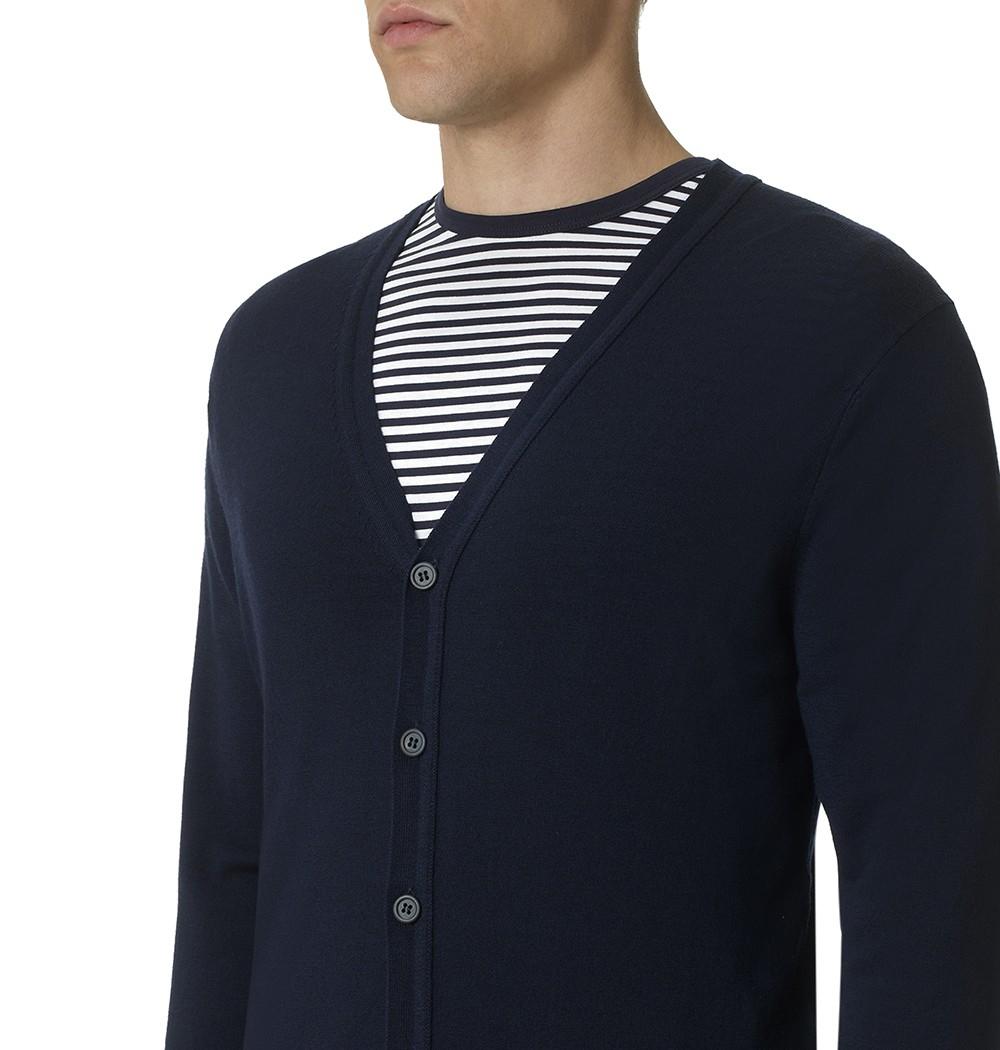 Sunspel Men's Fine Merino Cardigan in Blue for Men | Lyst