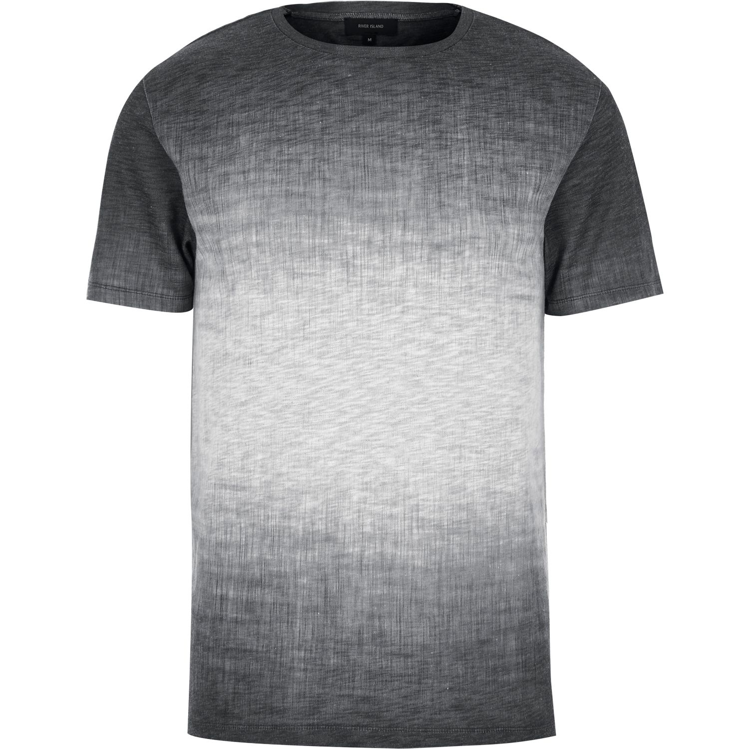 lyst river island dark grey textured faded t shirt in gray for men