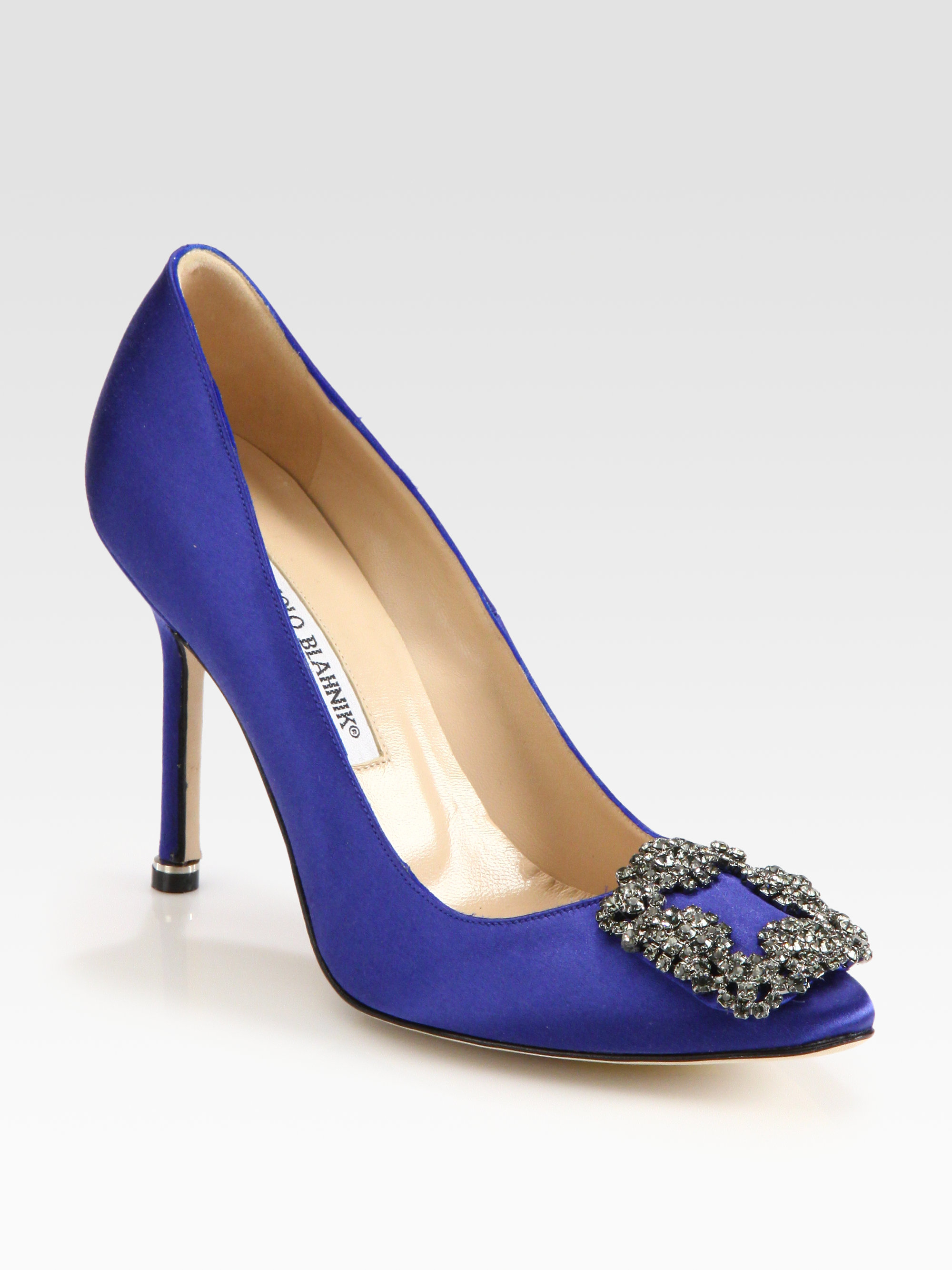 Manolo blahnik hangisi 105 satin pumps in blue lyst for Who is manolo blahnik