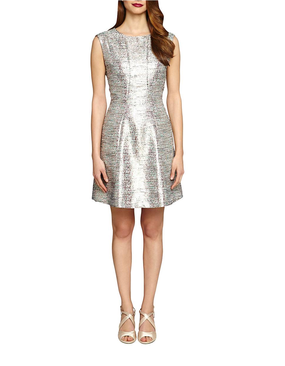 Tahari By Arthur S Levine Textured Metallic Dress In