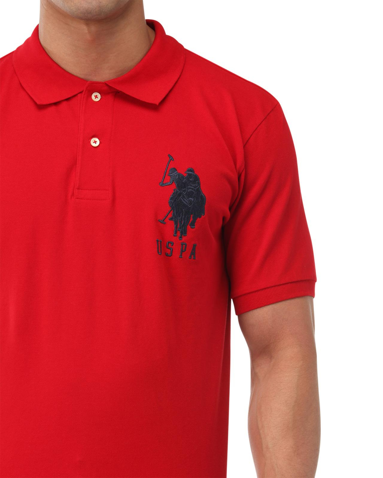 Lyst u s polo assn big logo polo shirt in red for men for Polo shirts with logos