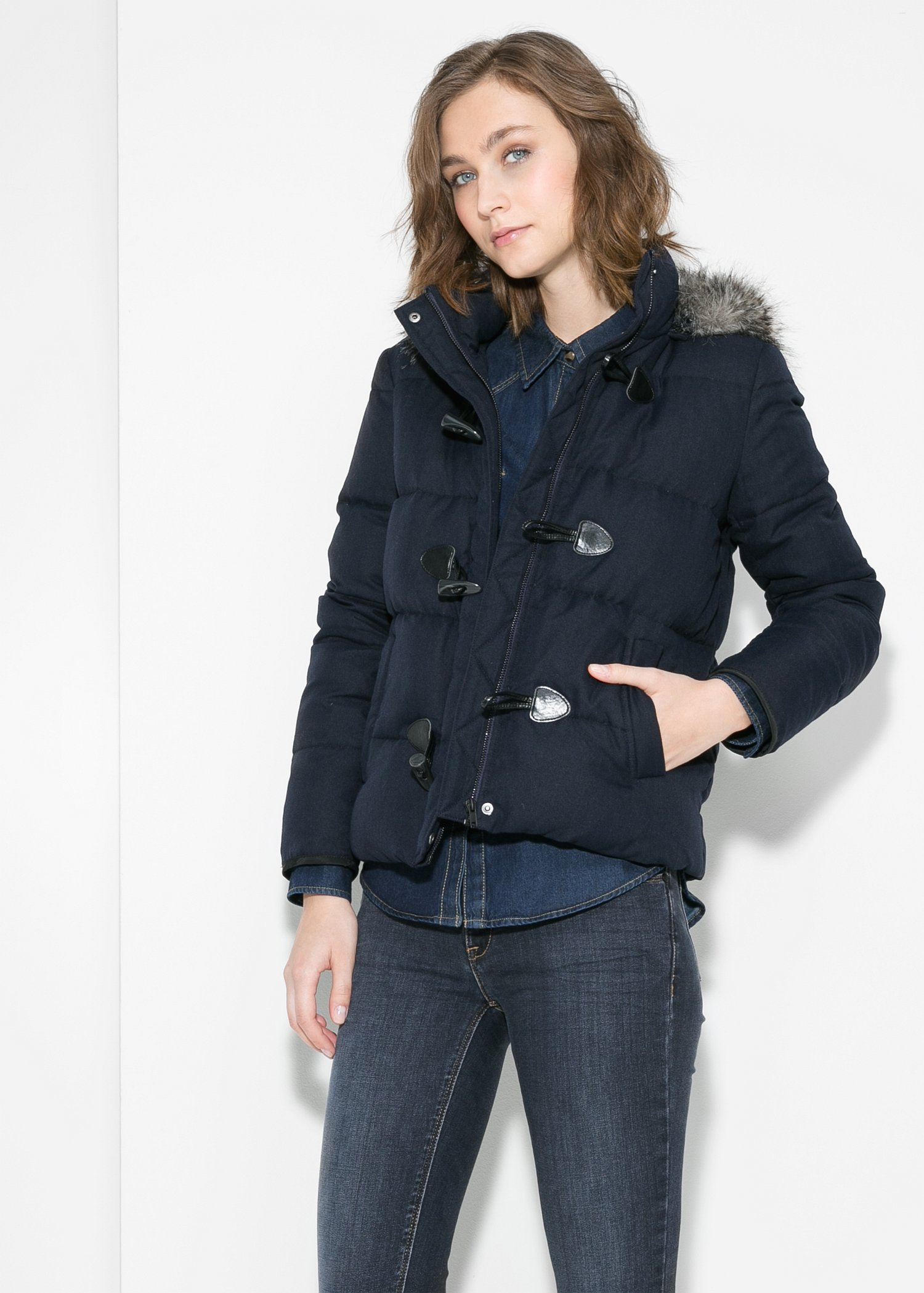 Mango Feather Down Hooded Coat in Blue | Lyst