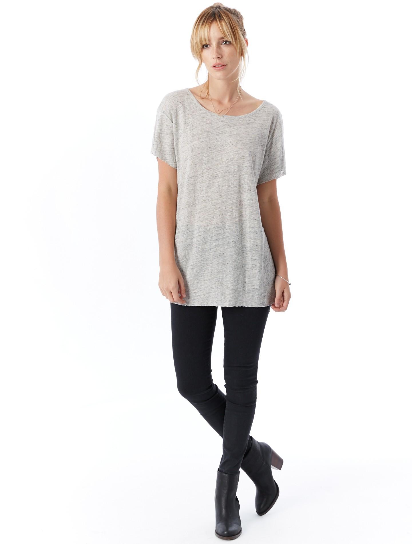 alternative apparel linen t shirt in gray lyst