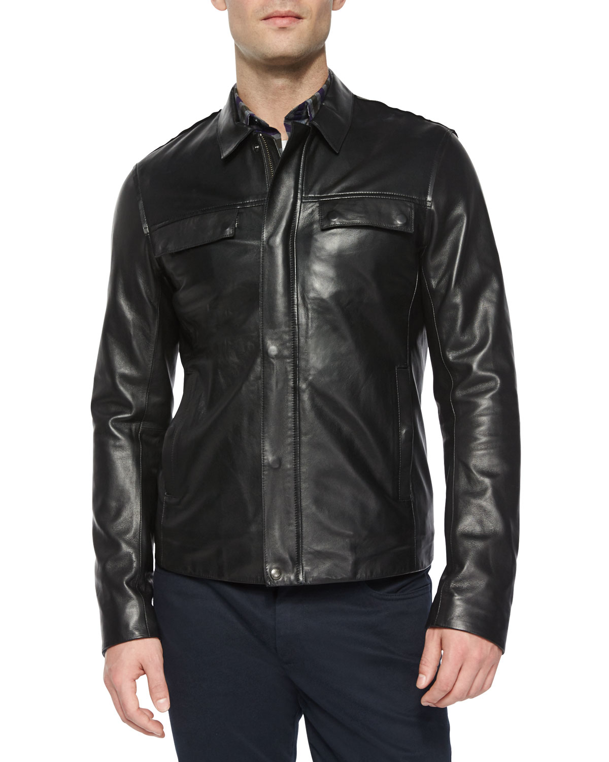 Lyst Vince Raw Edge Leather Jacket In Black For Men