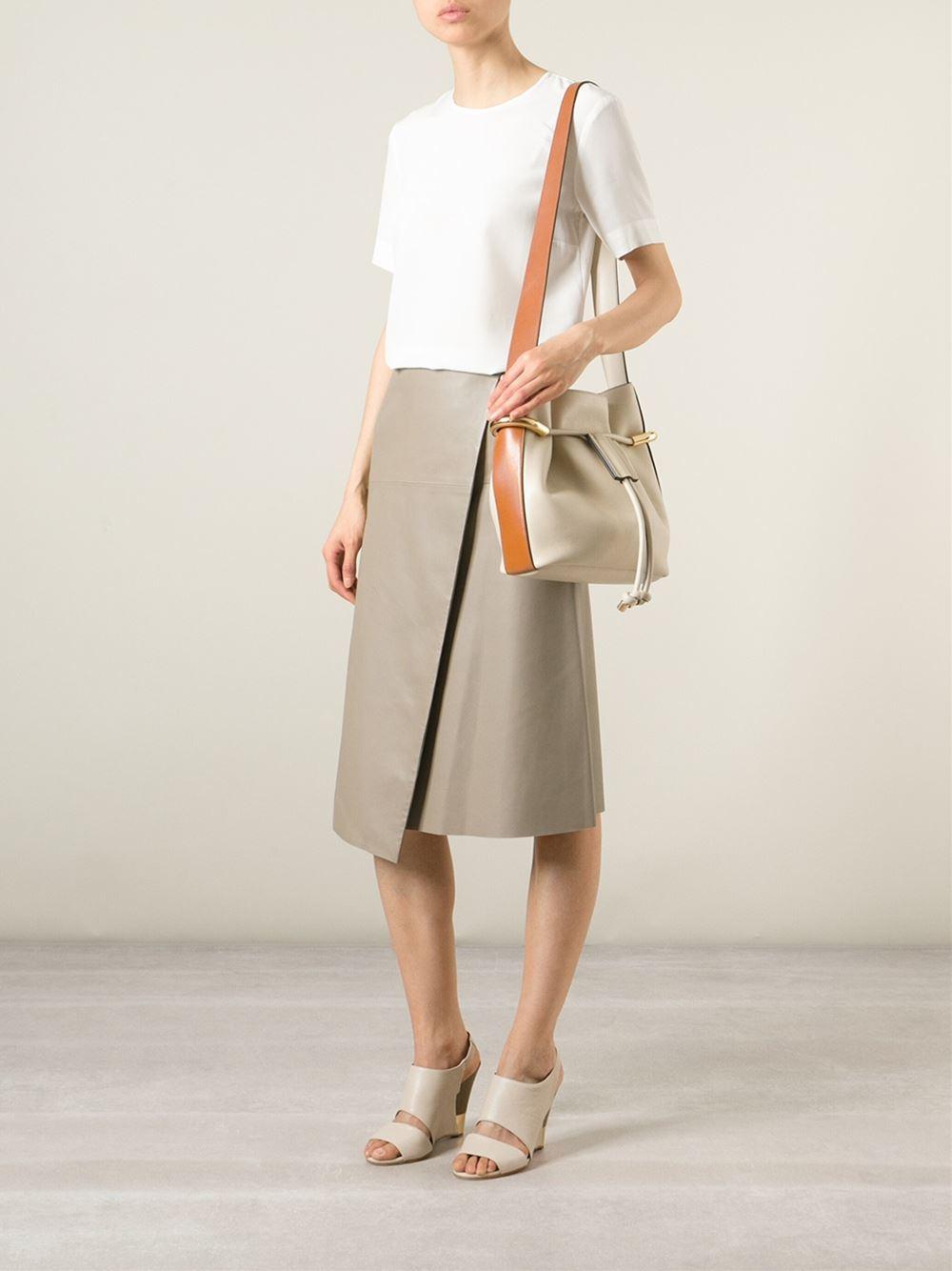 Chlo�� Emma Leather Shoulder Bag in Beige (nude \u0026amp; neutrals)   Lyst