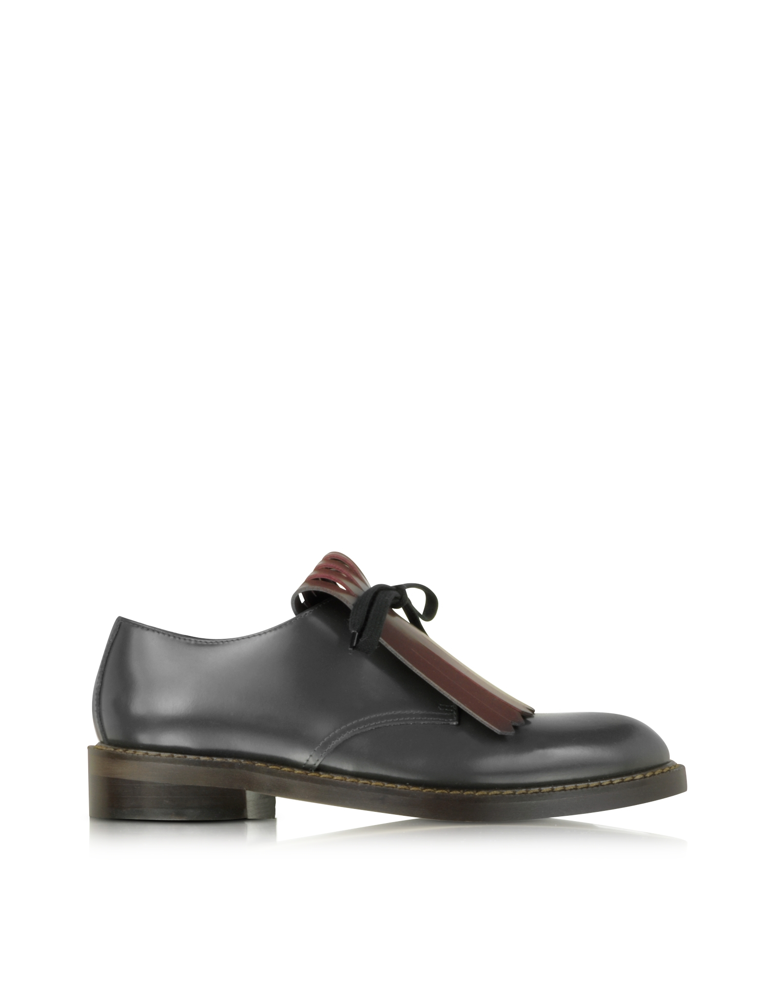 marni lace up leather shoe w contrasting colored fringes