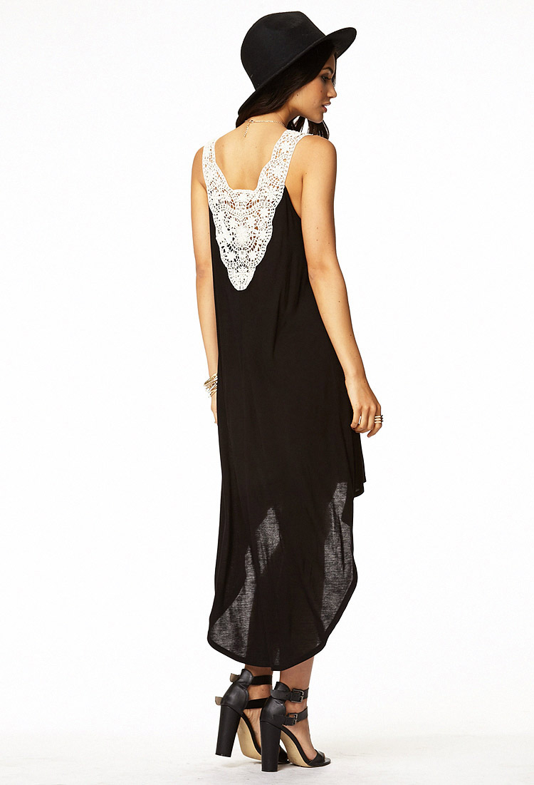 Lyst Forever 21 Crochet Back High Low Dress In Black