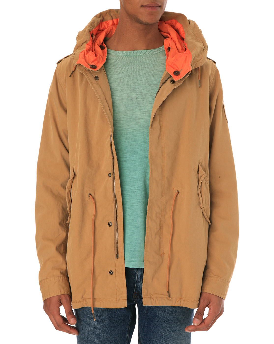 scotch soda fishtail sand parka in brown for men sand. Black Bedroom Furniture Sets. Home Design Ideas