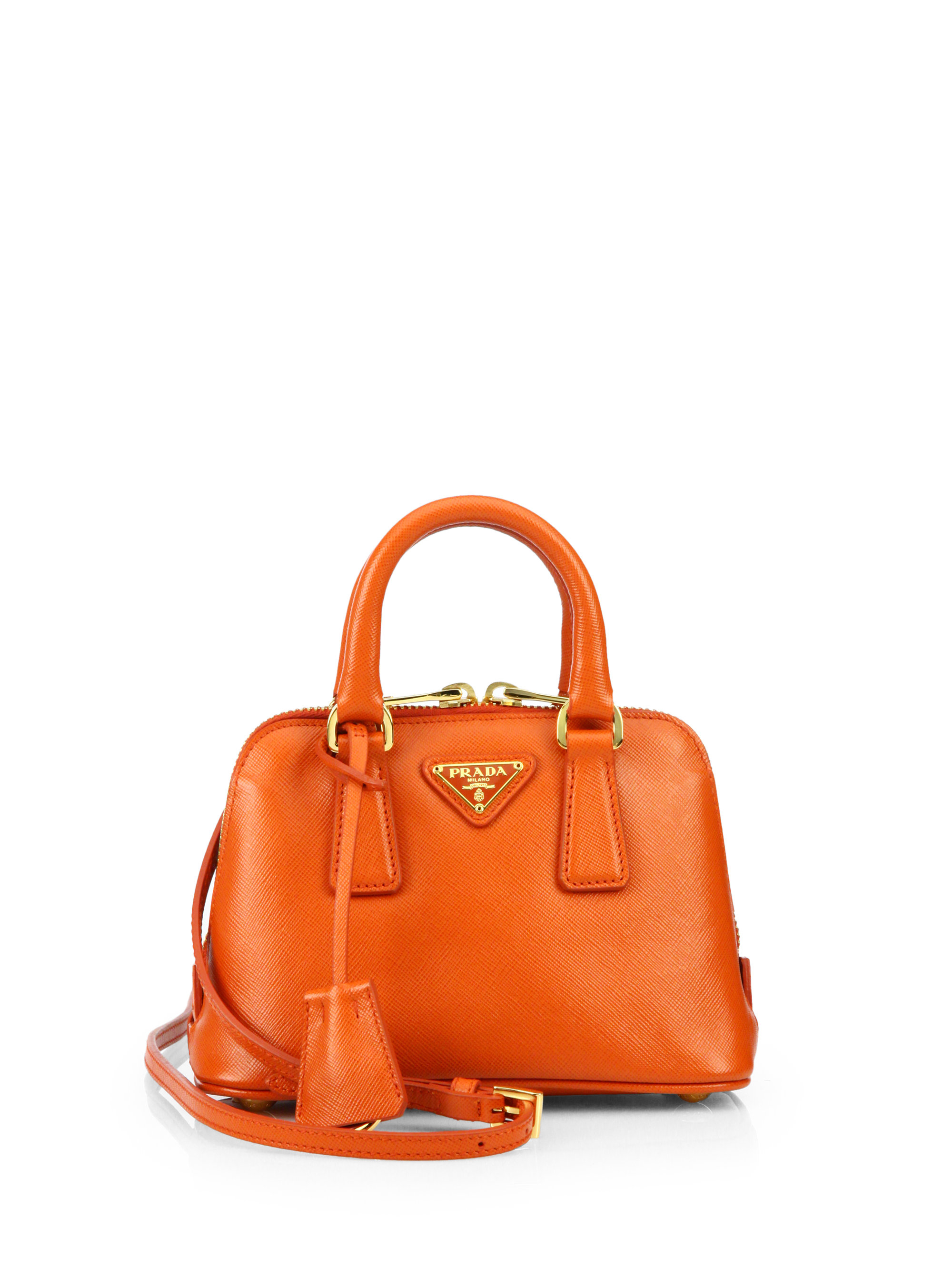 pranda bag - Prada Saffiano Lux Double Handle Mini Satchel in Orange (PAPAYA ...