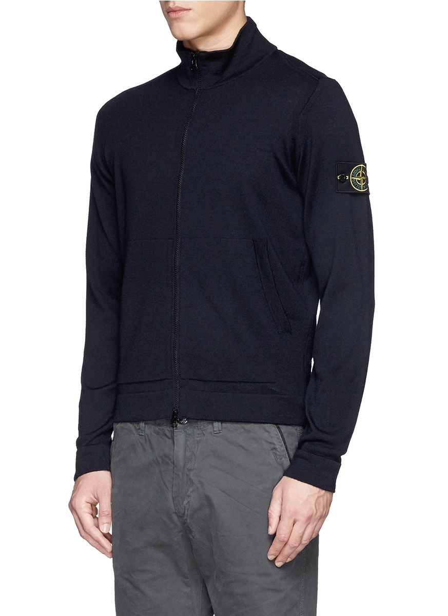 Stone island Zip-up Wool Cardigan in Blue for Men | Lyst