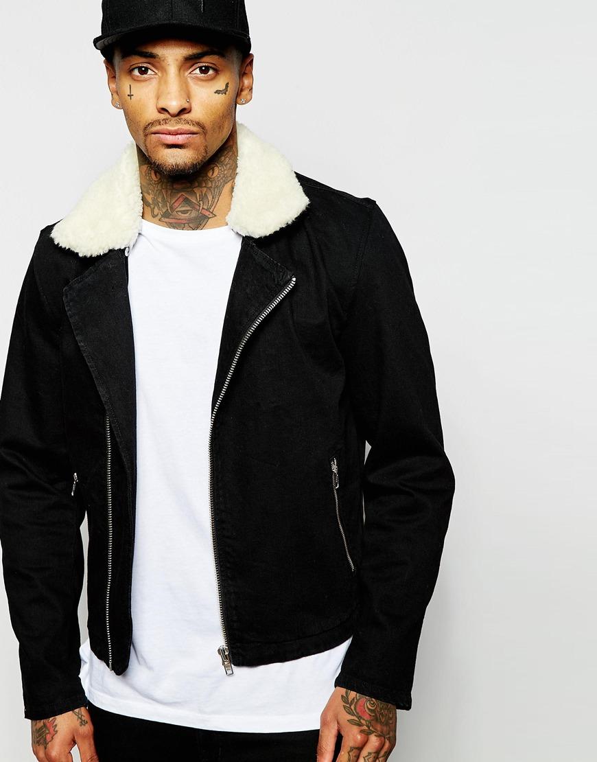Lyst Asos Denim Jacket With Borg Collar In Black Wash In