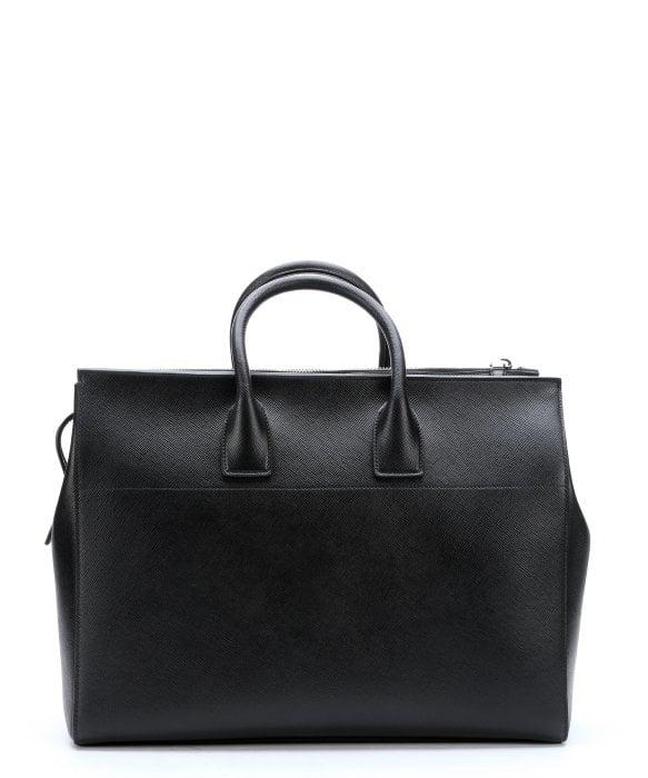 Prada Black Saffiano Leather Large Travel Tote Bag in Black | Lyst