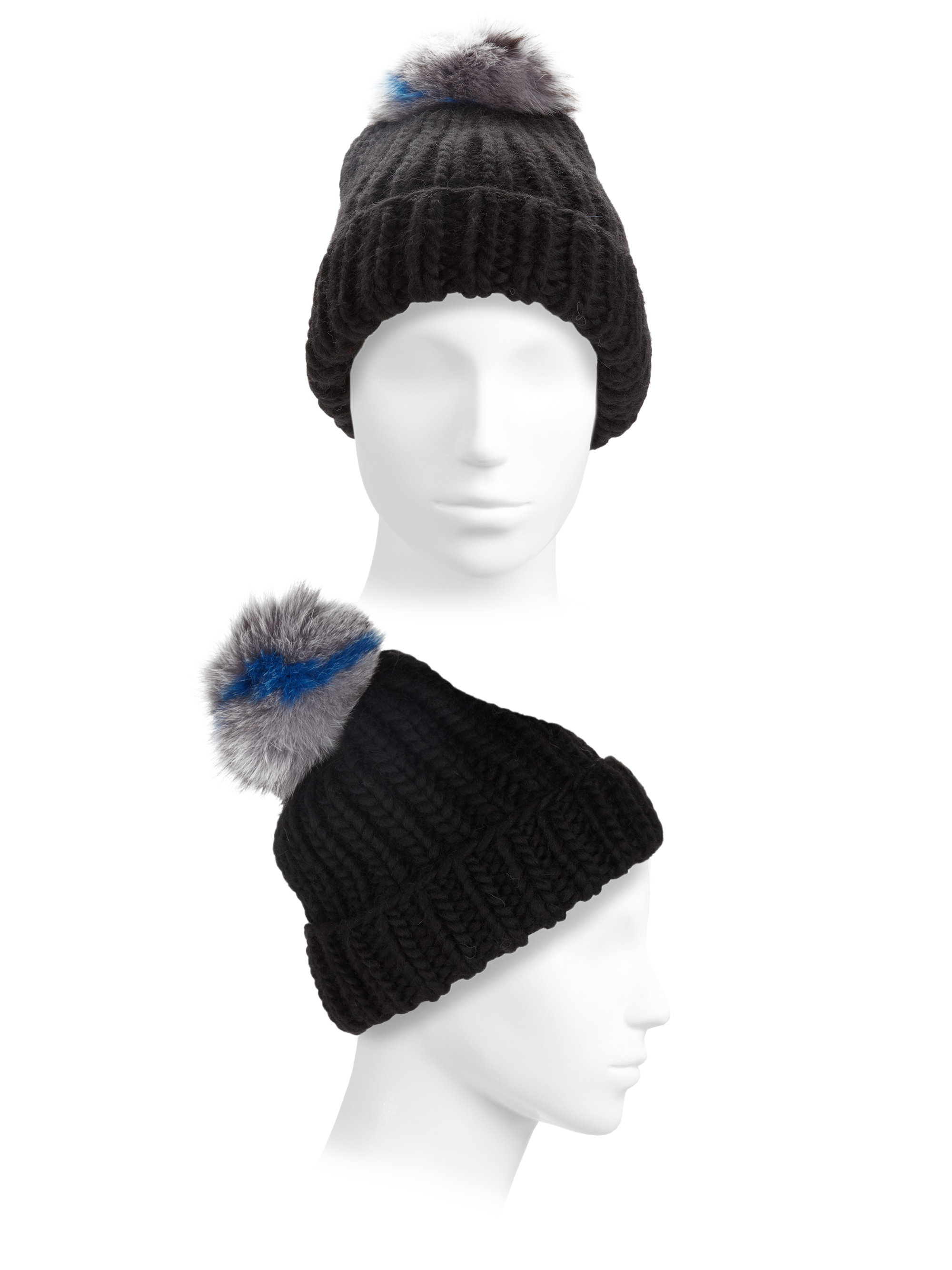 7567eea4424 Lyst - Eugenia Kim Rain Fox Fur Pom-pom Wool Beanie in Black